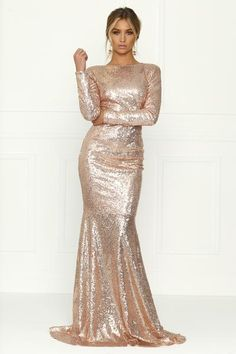 Honey Couture VIVA Rose Gold Sequin Long Sleeve Maxi Formal Gown Dress