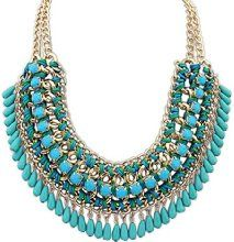 SUNNOW Bohemian Vintage Perles Tassel Bib Style Pull Collier Fashion Necklace