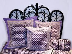 Anna Sui bedding line Purple Lilac, Purple And Black, Anna Sui, Bedding Collections, Paisley Print, Fashion News, What To Wear, Fashion Accessories, Throw Pillows