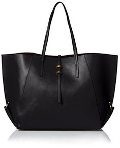 ZAC Zac Posen Women's Contrast Lined Eartha Folded Gusset Shopper, Black * You can find more details by visiting the image link. Peep Toe Flats, Zac Posen, Handbags On Sale, Beautiful Bags, Wallets For Women, Leather Bag, Purses And Bags, Contrast, Black