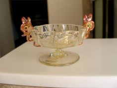 Old Venetian Art Glass Pedestal Dolphin Fish Handles OPEN SALT CELLAR c1920s