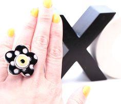 Polka Dot Daisy Ring