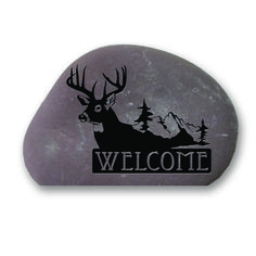 Garden Stone (with Cut Bottom)   Welcome Moose