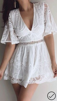 Pin by Fashion Affairz on Women's fashion in 2019 Little Dresses, Cute Dresses, Casual Dresses, Short Dresses, Fashion Dresses, White Outfits, Trendy Outfits, Summer Outfits, Summer Dresses