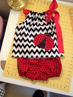 Black white and red lady bug outfit chevrons by SewSweetByTrisha