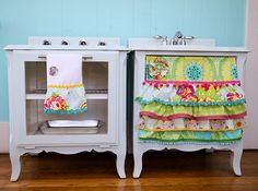 turned old night stands into a play kitchen