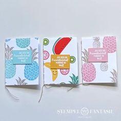 Cute Fruit - Handgenähte Notizbüchlein im Sommerlook als Gastgeschenk Memories Box, Diy And Crafts, Paper Crafts, Cute Fruit, Card Maker, Stampin Up, Goodies, Notebook, Cards