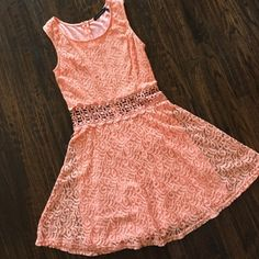 Coral Pink Lace Dress An orangey-pink dress, a paisley lace pattern, zippered back, two layers, worn a few times, best condition, make an offer! You Are Not Alone Dresses