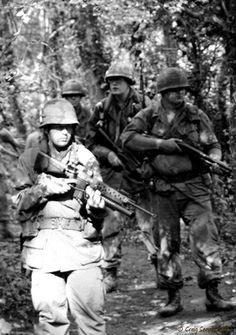 On patrol... Vietnam War.1Bn3rd A  #VietnamWarMemories  (1975)   Me  &  Billy Anderson, Warren Thomas ,  Joe B.           Xuan Loc