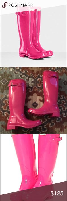 Pink Gloss Hunters Brand new & come with box!  Super bright pink glossy tall boots.  Excellent for those girly girls!   Price is firm! Hunter Boots Shoes Winter & Rain Boots