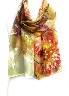 Women Scarf. Floral Shawl. Hand Painted Silk Scarf. Gift for Her. Gold Scarf. Foulard Echarpe Soie. 14x71in. (35x180cm). $42.00, via Etsy.