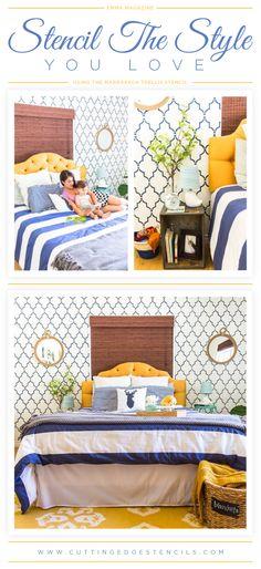 A DIY stenciled master bedroom using the Marrakech Trellis Allover pattern. http://www.cuttingedgestencils.com/moroccan-stencil-marrakech.html    #stenciling #styles #wallstencils