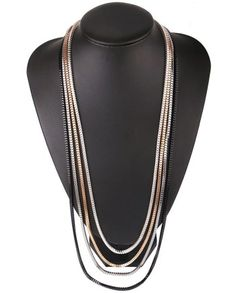 Set of 4 Multi layer chains- Gold Black Silver