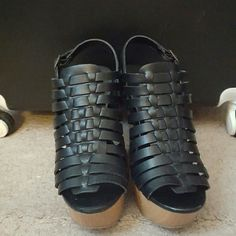 Black Mossimo Suppy Co Wedges size 8 5'0 Mossimo Black Wedges. These are too high for me and were worn once. Mossimo Supply Co Shoes Sandals