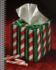 PEPPERMINT RIBBONS TISSUE BOX COVER 1/2 FROM HOLLY JOLLY CHRISTMAS IN PLASTIC CANVAS