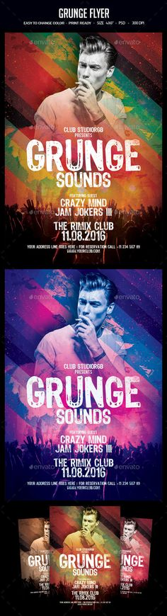 Grunge Flyer Template PSD. Download here: https://graphicriver.net/item/grunge-flyer/17320597?ref=ksioks