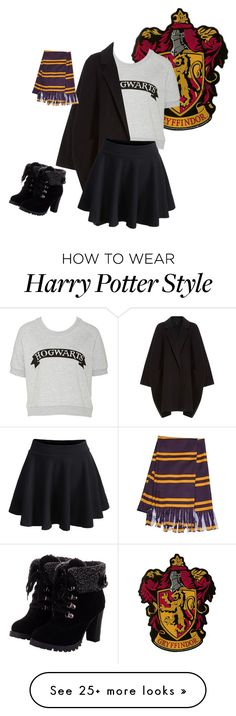 """Gryffindor spirit"" by kookiesantana on Polyvore featuring Helmut Lang, WithChic, harrypotter and Gryffindor"