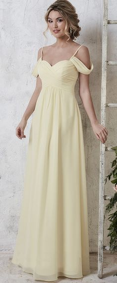 47f217e8cca  88.99  Delicate Chiffon Spaghetti Straps Neckline A-Line Bridesmaid Dresses  With Pleats. Pale Yellow Bridesmaid DressesPale Yellow WeddingsWedding ...