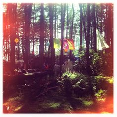 Lanterns and flags at beatherder festival #lanterns #flags #forest #beatherder #festival #musicfestival #hippies