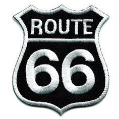 [Visit to Buy] Route 66 Retro Muscle Cars 60s Americana USA Applique Iron-on Highway Road Sign Biker Emblem Patch  #Advertisement