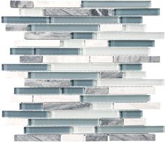 """The accent tile I chose: it's Bliss Tile """"Waterfall."""" There will be a 2"""" strip near the floor (one course up) and a 4"""" band at the top, both framed by brushed nickel sheathed tiles, very cool, suggested by Cassie at Castalite in Logan."""