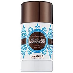 Lavanila Laboratories - The Healthy Deodorant in Vanilla Coconut. LOVE this stuff. It's a clinical-strength deodorant that is 100% natural, safe, and effective.    What it is formulated WITHOUT:  - Parabens  - Sulfates  - Synthetic Dyes  - Petro-Chemicals  - Phthalates    It's dermatologist-recommended, non-irritating, allergy-tested that does not contain aluminum or mineral oils.   Purchased at Sephora.