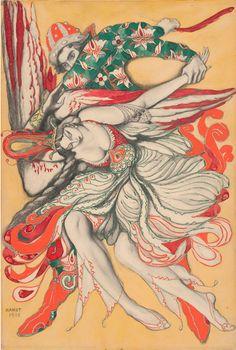 Léon Bakst (1866-1924), 1915, Character portrait of Tamara Karsavina and Michel Fokine in L'Oiseau de Feu,