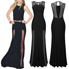 Mesh Drapes A Line Floor Length Evening Dress