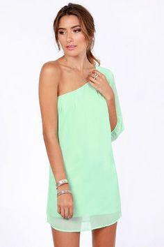 Cute One Shoulder Dress  Mint Green Dress  Shift Dress #gorgeous #mint [Apparel] Styles | Big Fashion Show one shoulder dress