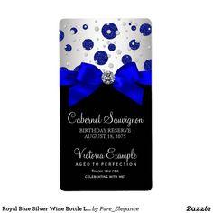 Royal Blue Silver Wine Bottle Labels