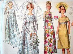 Vintage 1960s Wedding Dress Pattern. Love the cape!