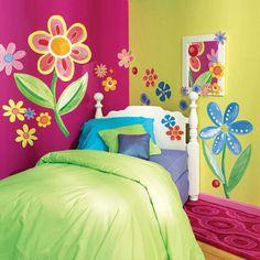 Mural Painting Bedroom Kids Wallpaper Flower Themes