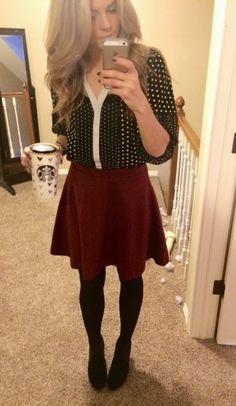 polka dot Blouse, maroon skirt