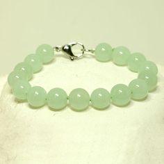 Jade bead bracelet sterling silver clasp - Jade jewelry - Jewel of the Lotus $220