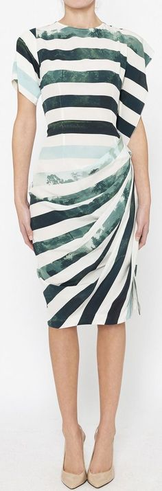 Dries Van Noten White And Green Dress // love the effect of graphic + stripes