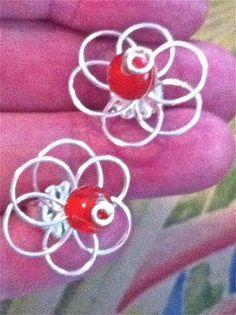 Wired Flower EarringsPretty Beaded Flower with Red by JoJosgems, $16.00