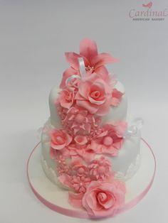 Tarta de boda con flores rosas / Pink flower wedding cake