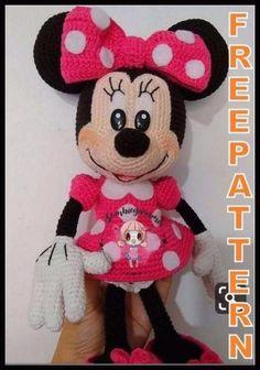 Crochet Amigurumi Free Patterns, Crochet Animal Patterns, Crochet Doll Pattern, Stuffed Animal Patterns, Crochet Blanket Patterns, Free Crochet, Crochet Mickey Mouse, Minnie Mouse Doll, Amigurumi Doll