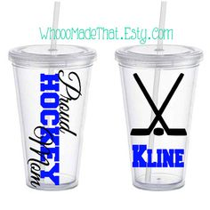 Personalized Tumbler Proud Hockey Mom with name by WhoooMadeThat Hockey Crafts, Hockey Decor, Hockey Mom, Hockey Teams, Hockey Stuff, Silhouette Projects, Silhouette Cameo, Hockey Party, Vinyl Projects