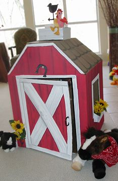 A barn made out of a big box with love for my son's 1st birthday! Designed by Amy Locurto at LivingLocurto.com