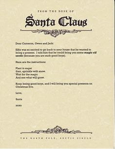 Free download of Santa Claus stationary ... also Elf on the Shelf magic seeds