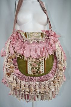 Vintage Apple-Green Velvet and Rose Petal Pink Fringe Bohemian Gypsy Handbag. Layers of Laces, Trims, Bullion and Piano Scarf Fringe. Ruched