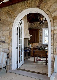 limestone pool building and kitchen, Anne Decker Architects