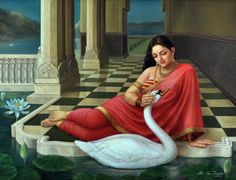 Raja Ravi Verma (1848 - 1906) achieved recognition for his depiction of scenes from the epics of the Mahabharata and Ramayana.