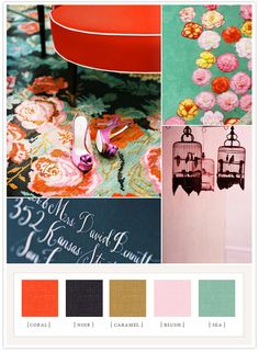 {clockwise from left} Lonny Magazine, Gertrude & Mabel, Jacob Ring on Flickr, Maybelle Calligraphy