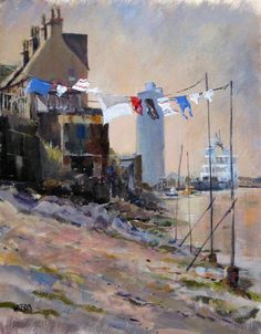 Ferryden, Scotland. Washing line over the estuary.
