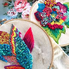 Embroidery Art, Embroidery Patterns, Denim Jacket Embroidery, Textiles, Textile Fiber Art, Rug Hooking, Needlepoint, Needlework, Diy And Crafts