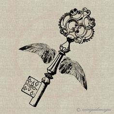 Winged Key. Image No.84, Digital Download Iron-On Transfer to Fabric (burlap, linen) Paper Prints (cards, tags)
