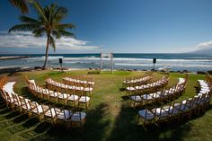 Ceremony setup facing the ocean - just less chairs