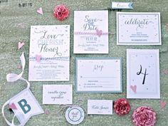 Save money by using this complete set of wedding printables. Download customizable invites, save-the-date cards, banners, place cards and more.